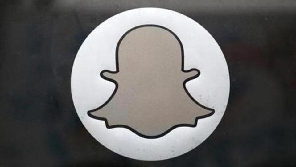 The Snapchat logo is seen on the door of their headquarters in Venice.
