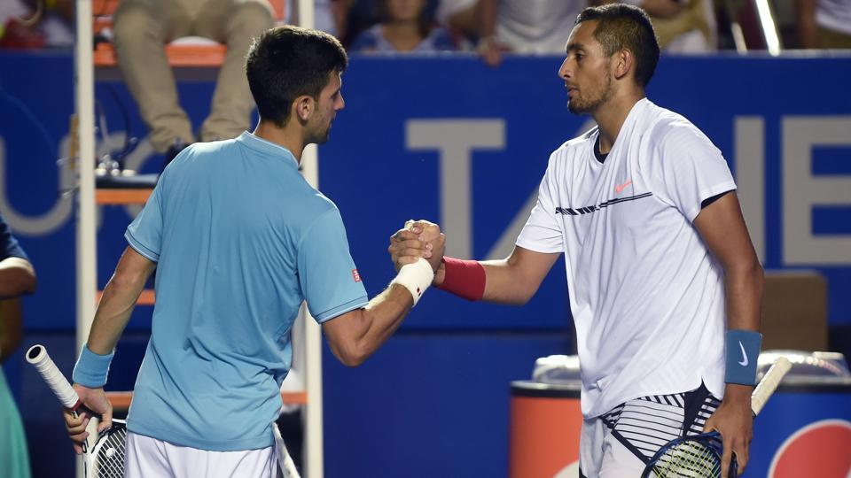 Australia's Nick Kyrgios (right) speaks to Serbia's Novak Djokovic after winning his match during the fourth day of the Mexican Open, in Acapulco, Guerrero State, Mexico, on Thursday.