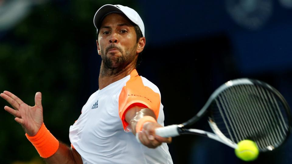 Fernando Verdasco in action against Robin Hasse in the Dubai Tennis Championships.
