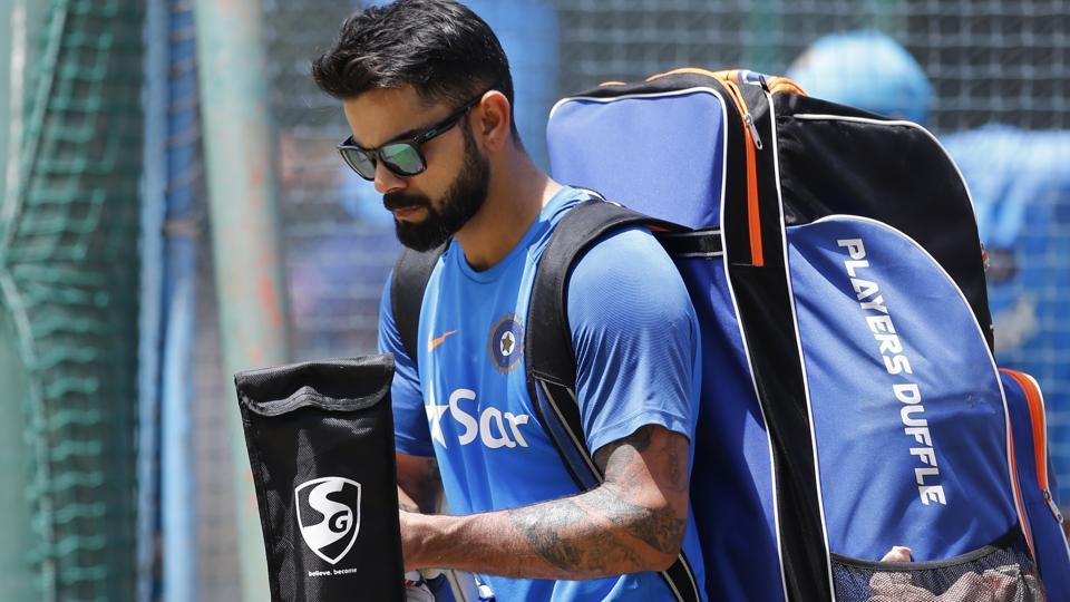 India cricket team captain Virat Kohli leaves after batting in the nets during a training session ahead of their second cricket test match against Australia in Bangalore.