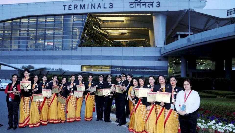 Crew members of Air India flight AI 173, which was operated with all women staff on Delhi-San Francisco-Delhi route, after arrival at IGI Airport, New Delhi on Friday.