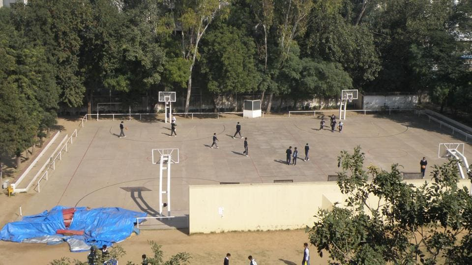 The basketball court in The Mother's International School, Delhi.