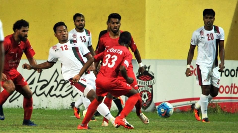 Action during the I-League match between Churchill Brothers and Mohun Bagan in Goa on Saturday.