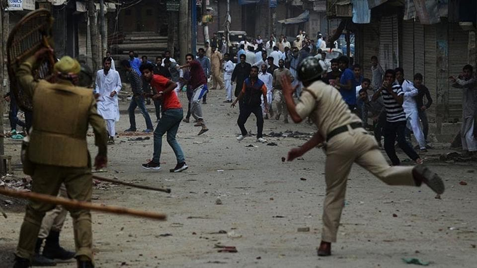 Clashes erupted on Saturday between protesters and security forces near Kashmir's Shopian district.