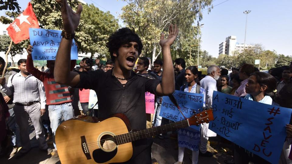 Students marching from Mandi House to Parliament Street against violence at Ramjas College last week.