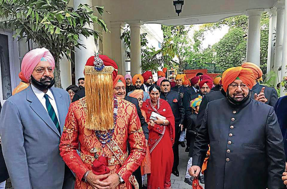 Patiala royal scions Captain Amarinder SIngh and Malwinder Singh escorting the groom.