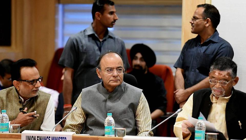 Union finance minister Arun Jaitley with minister of state for finance Santosh Gangwar at a GST Council meeting, at Vigyan Bhawan in New Delhi on Saturday.