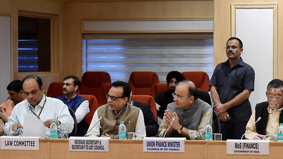 Finance minister Arun Jaitley, junior finance minister Santosh Gangwar, revenue secretary Hasmukh Adhia and others at GST Council meeting, at Vigyan Bhawan in New Delhi on Saturday.