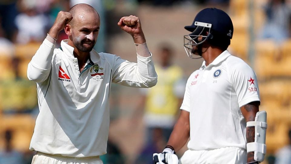 Nathan Lyon of Australia cricket team celebrates the wicket of India cricket team's KLRahul durind Day 1 of the second Test at M Chinnaswamy Stadium in Bangalore onSaturday. Lyon took eight Indian wickets, a new record, as India were bowled out for 189 with Rahul (90) the only batsman making a mark. (REUTERS)