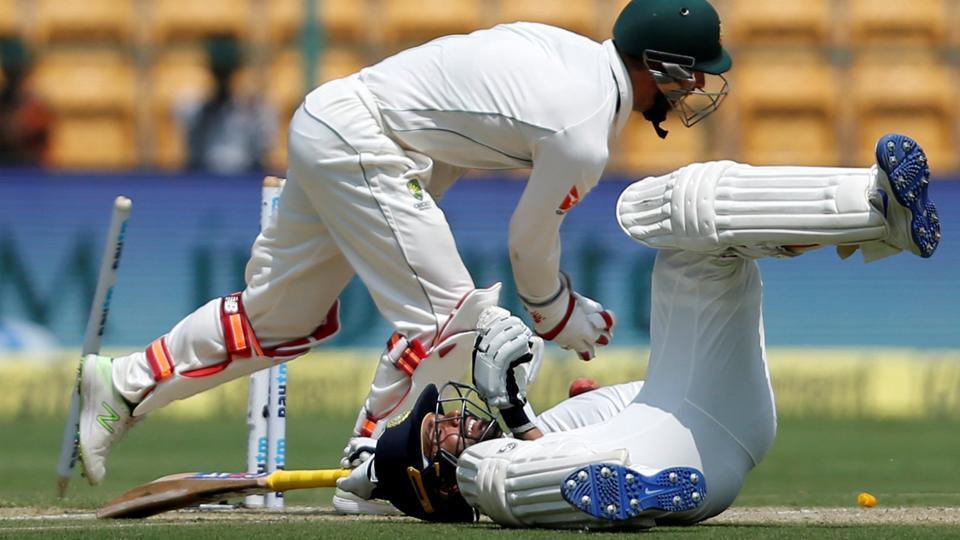Ajinkya Rahane is stumped by Australia's Matthew Wade on Day 1 of the second Test in Bangalore.