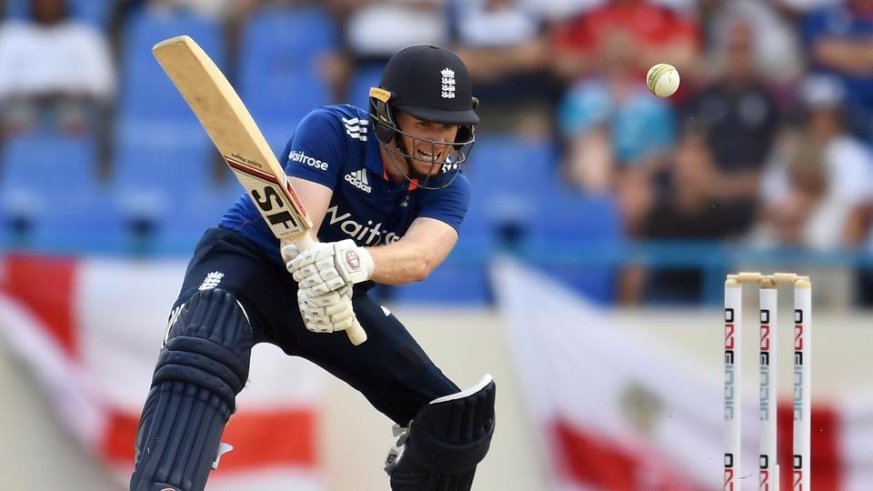 England cricket team captain Eoin Morgan steers one to the boundary during the first ODI against West Indies at the Sir Vivian Richards Stadium in St. John's, Antigua, on Friday.