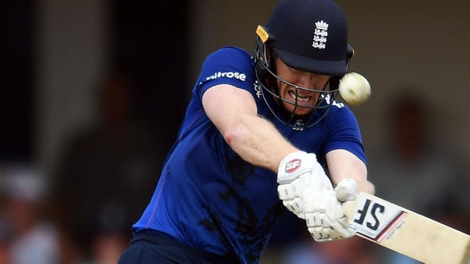 England cricket team captain Eoin Morgan hits a boundary during his century against the West Indies cricket team in the first ODI on Friday.
