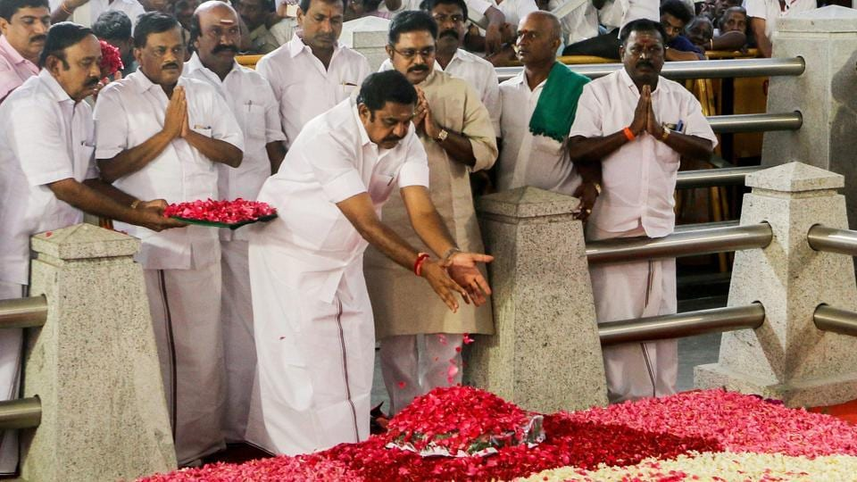 Tamil Nadu chief minister 'Edappadi' K Palaniswami along with ministers at Jayalalithaa's memorial at Marina beach after being sworn-in in February 2017. Palaniswami's elevations came after more than week of drama which threatened to split the party.