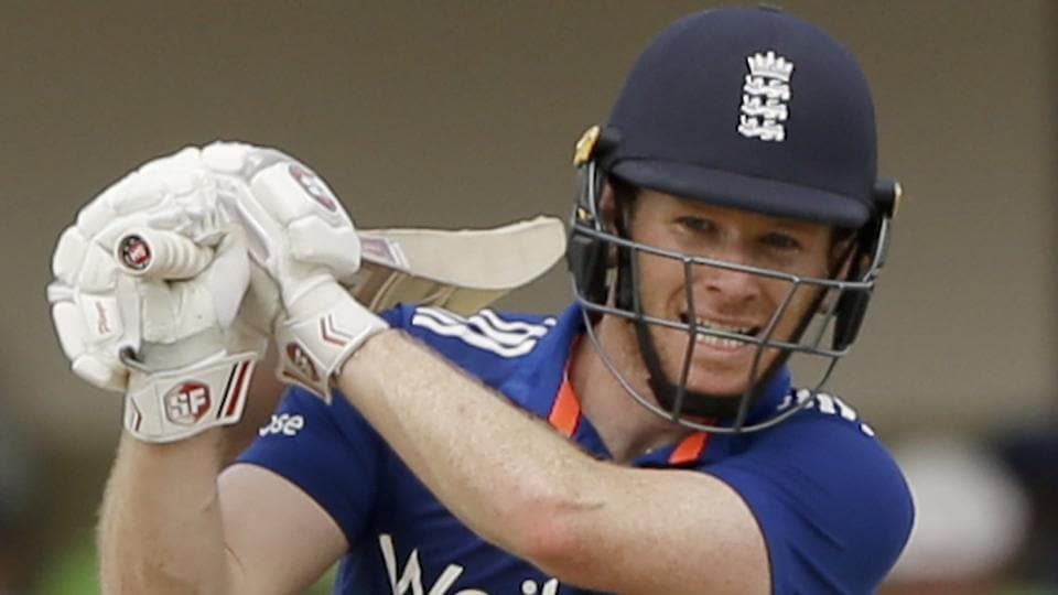 England's captain Eoin Morgan plays a shot against West Indies during a one day international match in North Sound, Antigua.