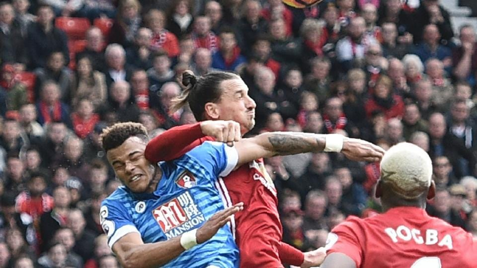 Zlatan Ibrahimovic appeared to be intentionally elbowing Tyrone Mings as Manchester United F.C. drew 1-1 with A.F.C. Bournemouth.