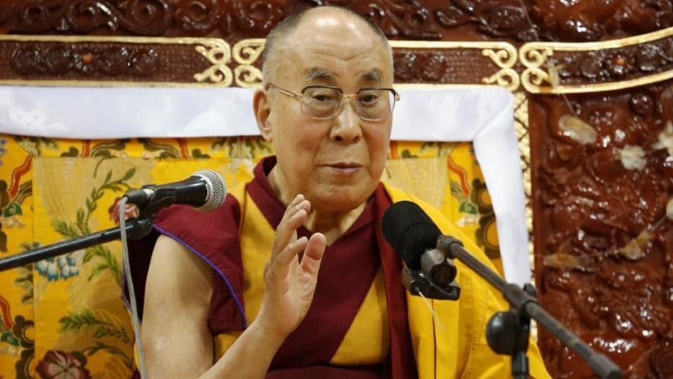 A file photo of Tibet's exiled spiritual leader the Dalai Lama addresses those gathered at Buyant Ukhaa sport palace in Ulaanbaatar, Mongolia, in November 2016.