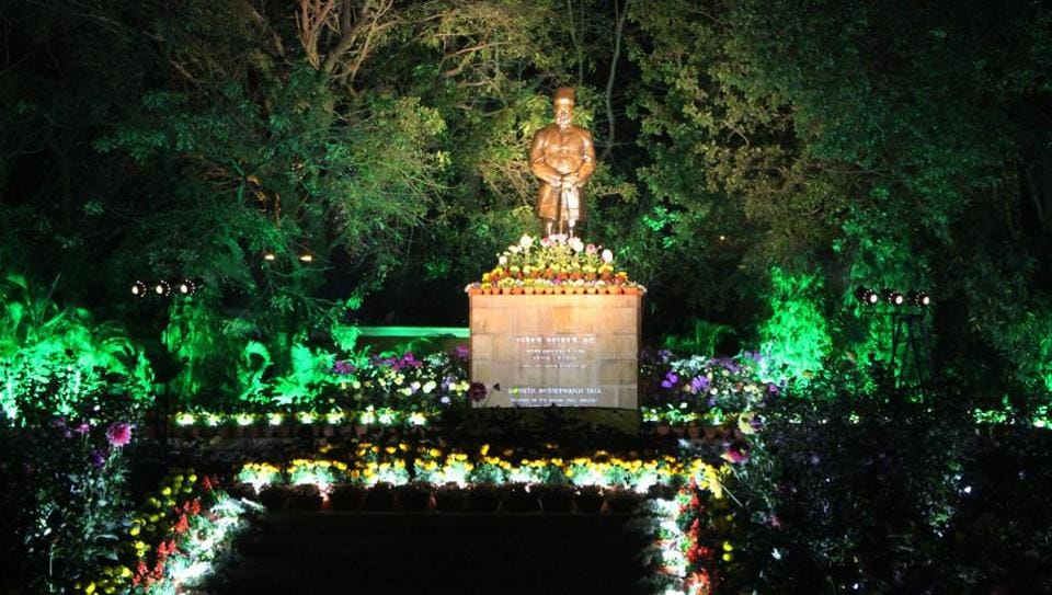 Jubilee park decorated with light on the eve of founders day of Tata Steels in Jamshedpur, India, on Wednesday, March 1, 2017.