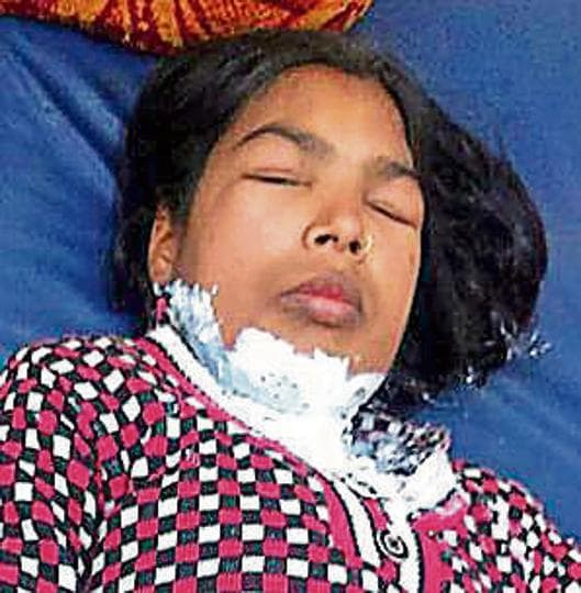 Ranjana, the victim, being treated at a civil hospital in Ludhiana on Saturday.