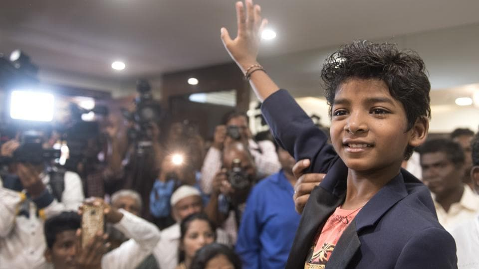 Mumbai, India - March 1, 2017: Eight-year-old Lion actor Sunny Pawar, who created waves at the 89th Academy Awards ceremony in Los Angeles, was greeted on his arrival in Mumbai.