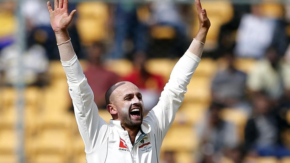 Nathan Lyon celebrates his eighth wicket, of Ishant Sharma, during the first day of the second test between India national cricket team and Australia cricket team at M Chinnaswamy Stadium in Bangalore on Saturday.