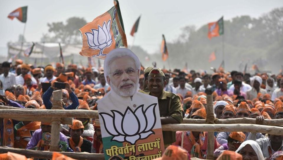 BJP supporters at PM Narendra Modi's rally at Mirzapur in Varanasi.