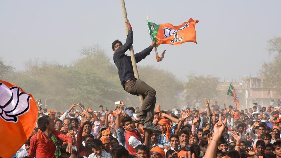 BJP supporters during Prime Minister Narendra Modi's election campaign rally in support of BJP candidates in Jaunpur on Saturday.