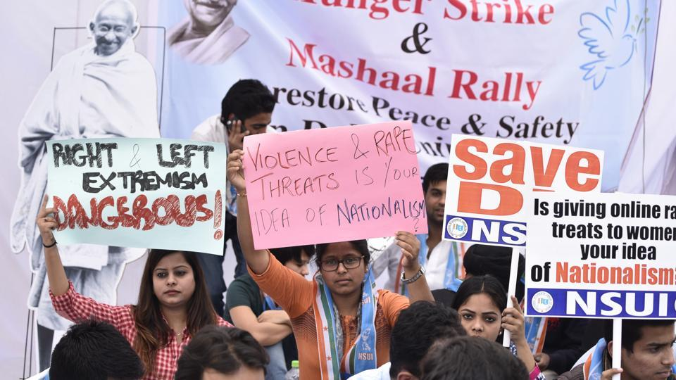 NSUI activists sit on a hunger strike outside in Delhi University in New Delhi on February 28.