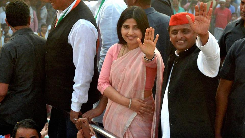 UP chief minister Akhilesh Yadav and his wife Dimple with Congress vice-president Rahul Gandhi and other leaders during their road show in Varanasi on Saturday.