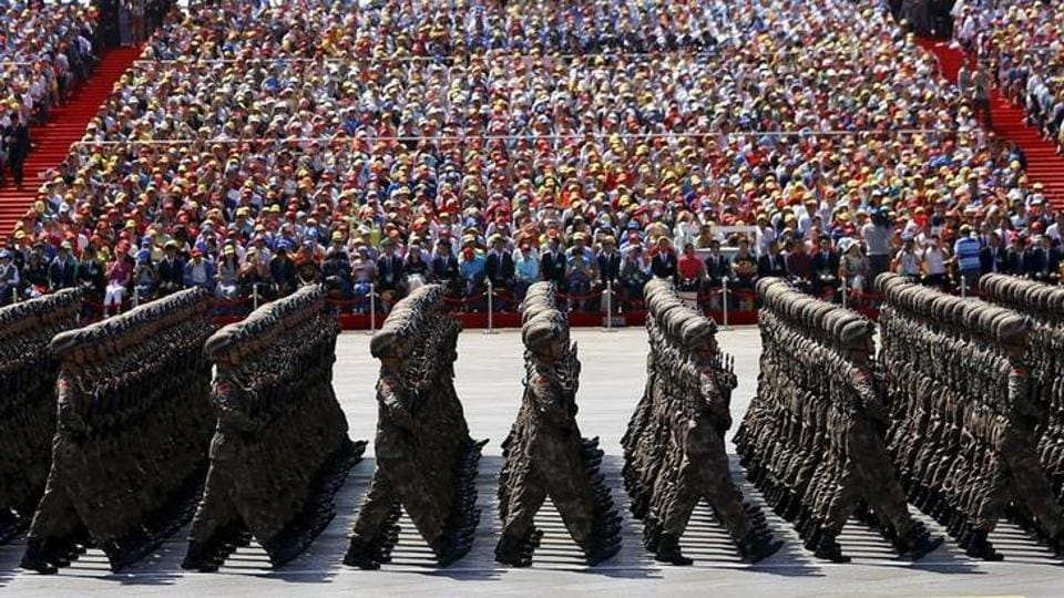Soldiers of China's People's Liberation Army (PLA) march during the military parade in Beijing, China.