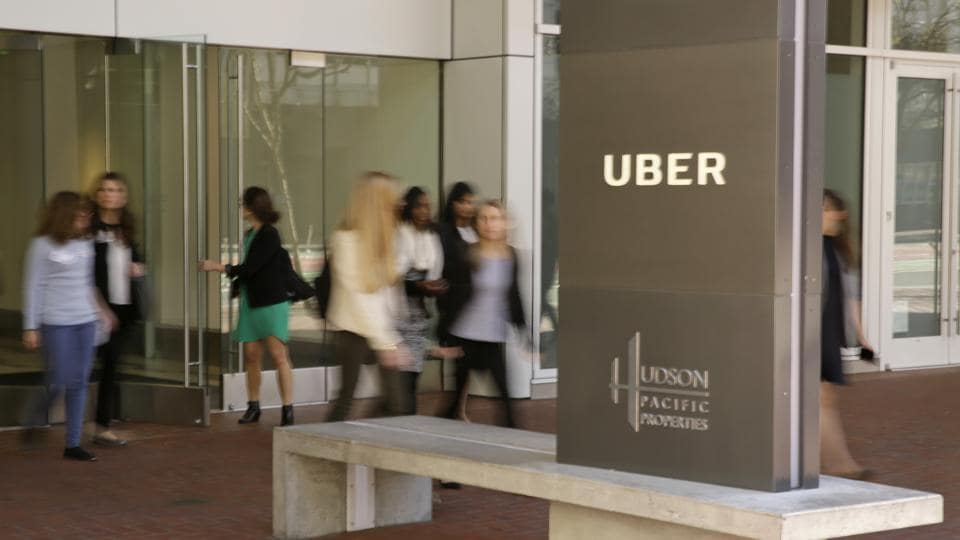 This Wednesday, March 1, 2017, photo shows an exterior view of the headquarters of Uber in San Francisco. Uber has been wielding a secret weapon to thwart authorities who have been trying to curtail or shut down its ride-hailing service in cities around the world.