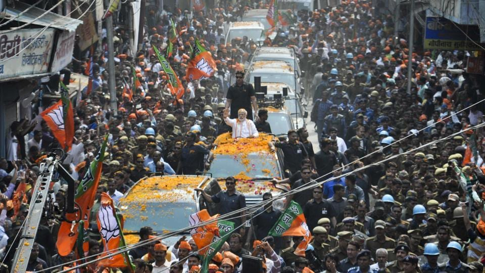 Prime Minister Narendra Modi during his election campaign in his parliamentary constituency of Varanasi. (Rajesh Kumar  / HT PHOTO)