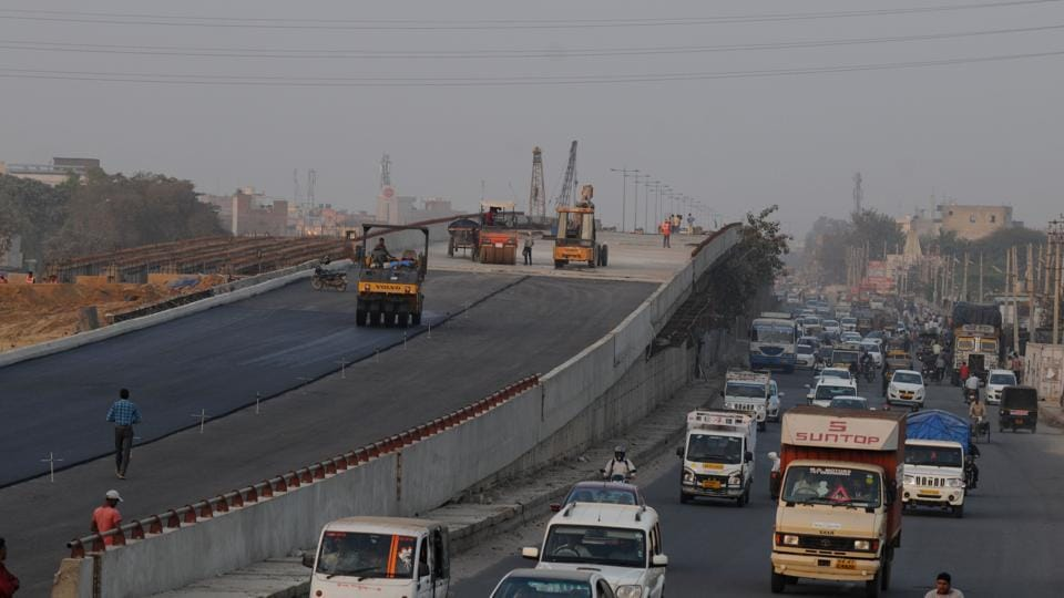The 1.4km-long flyover at Hero Honda Chowk is being constructed as part of three-layer crossing — flyover, underpass and at grade road. Work on the underpass at the junction is also on the fast track.