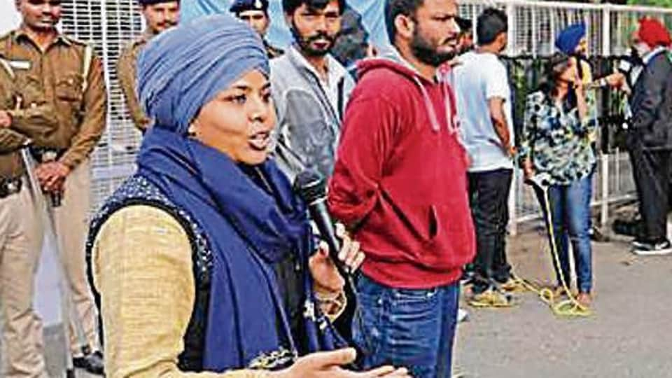 Activist Seema Azad delivering a speech on the Panjab University campus on Friday.
