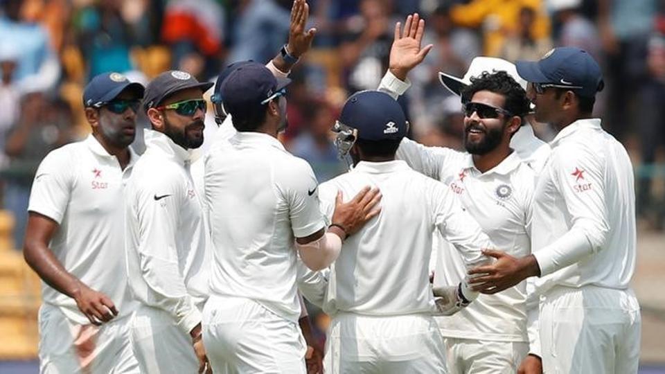 India cricket team spinner Ravindra Jadeja (2nd R) celebrates the wicket of Australia cricket team's Matt Renshaw mates on Day 2 of the second Test at M Chinnaswamy Stadium in Bangalore onSunday.