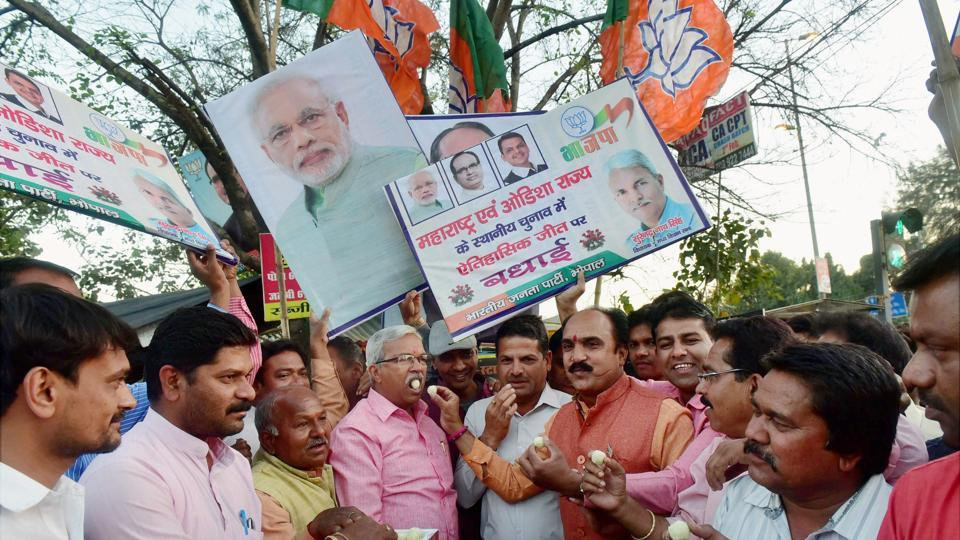 BJP workers celebrate the party's victory in the Maharashtra civic polls  in Bhopal, in this file photo from February 25.