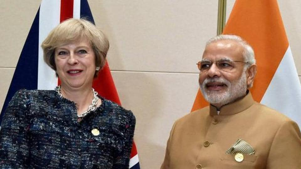Prime Minister Narendra Modi with Britain PM Theresa May during a bilateral meeting at the G20 summit in Hangzhou, China.