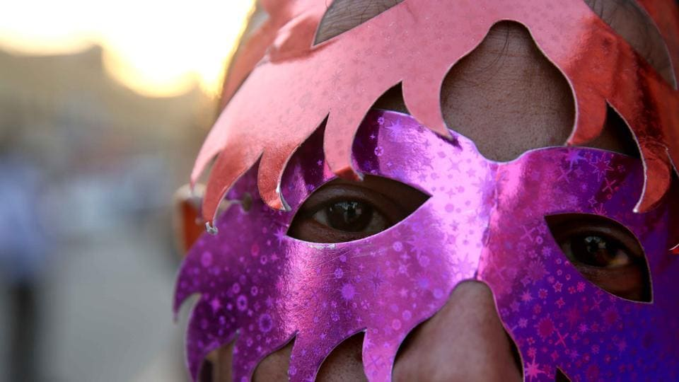 Some participants seen  wearing  mask during  the Queer Gilabi Parade . (Himanshu Vyas/HT Photo)