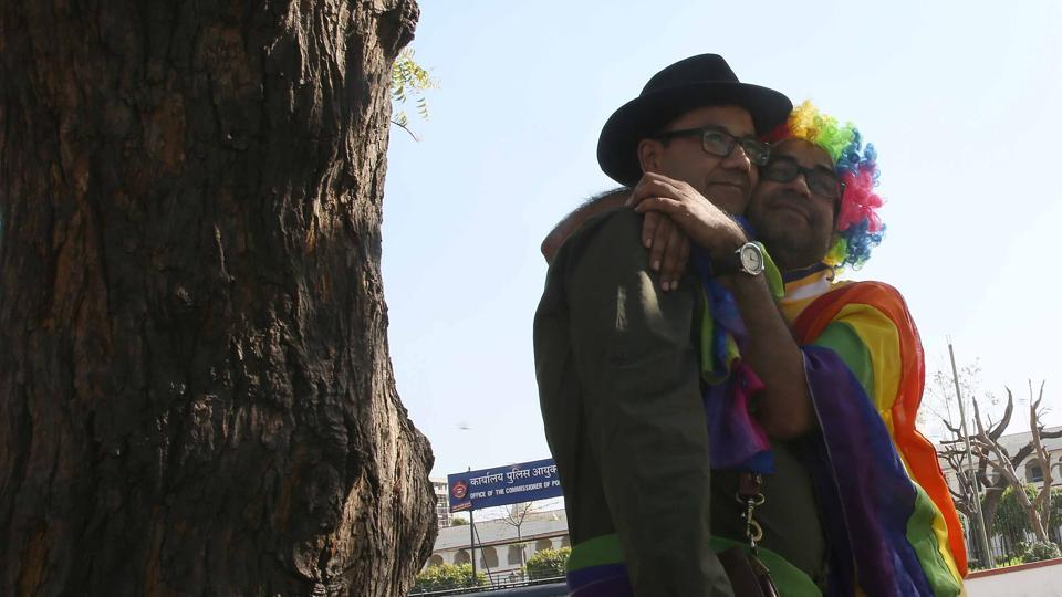 Two participants hug each other during the  Queer Parade in Jaipur. (Himanshu Vyas/HT Photo)