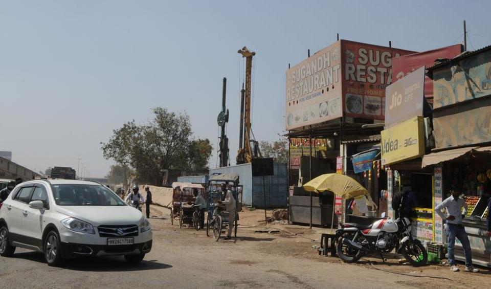 Work on an underpass at Hero Honda Chowk is stuck over the issue of relocating the Sugandh restaurant.