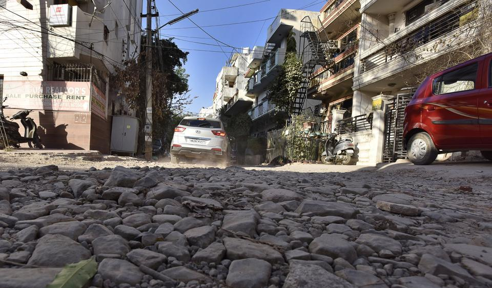 The authorities have done little to meet the demand of Sushant Lok 1 residents to build better roads.