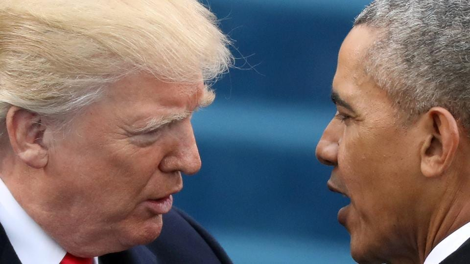 US President Donald Trump (left) has alleged that then President Barack Obama had ordered a wiretap of the phones at Trump's campaign headquarters.