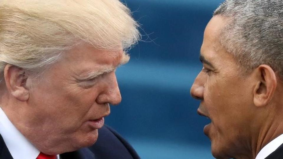 US President Donald Trump (left) has said then President Barack Obama (right) had wiretapped him in October during the late stages of the presidential election campaign, an allegation which Obama said was false.