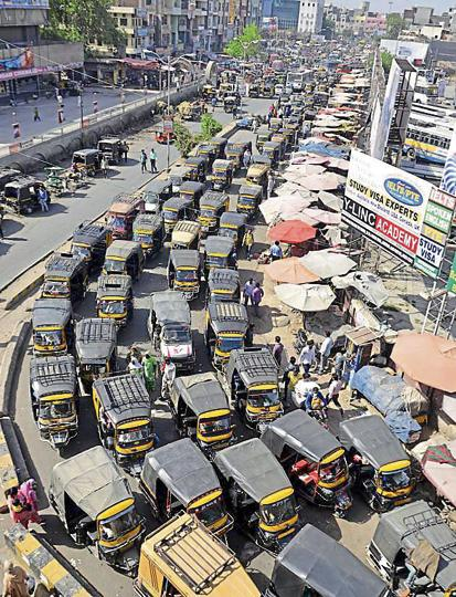 Auto-rickshaws account for a major portion of vehicles on the roads in Amritsar on Sunday.