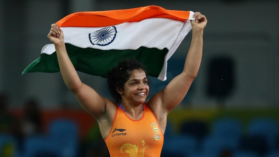 Sakshi Malik in the moments after she defeated Aisuluu Tynybekova of Kyrgyzstan during the Women's Freestyle 58 kg Bronze match at the Rio 2016 Olympic Games in Rio de Janeiro, Brazil, in August 2016.