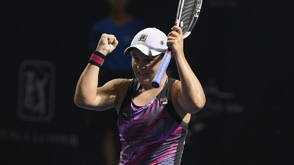 Ashleigh Barty of Australia celebrates after beating Nao Hibino of Japan in the final of the 2017 WTA Malaysian Open tennis tournament in Kuala Lumpur