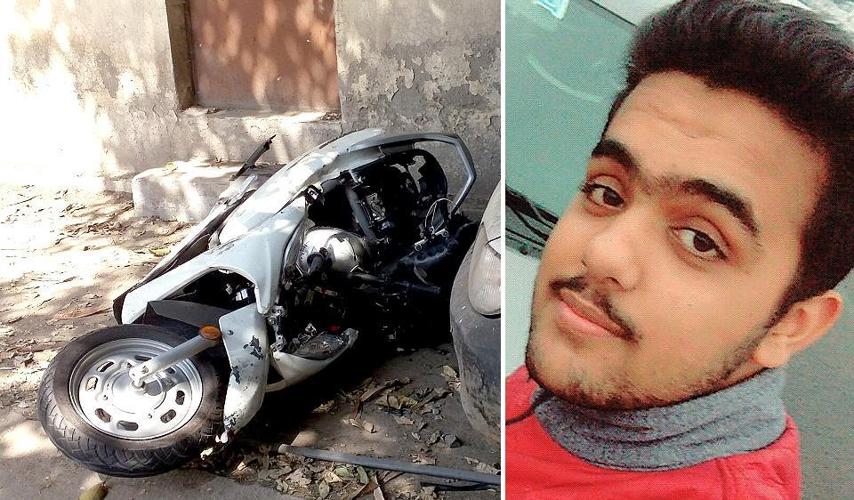 Sixteen-year-old Atul Arora (R) and the scooter he was riding. Driver of the Mercedes, who is yet to be identified, fled from the spot after the accident in west Delhi's Paschim Vihar around 10.30 pm on Sunday.