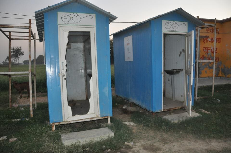 Toilets built under the Swachh Bharat Mission in one of the villages adopted by Prime Minister Narendra Modi are now in a broken state.