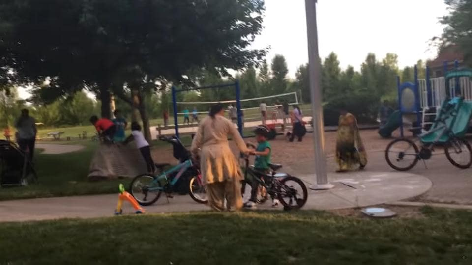 A screengrab of the video titled 'Ohio Suburban Park is Occupied by Indians'.
