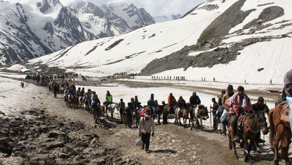 Pilgrims on the Amarnath Yatra in the Himalayas.