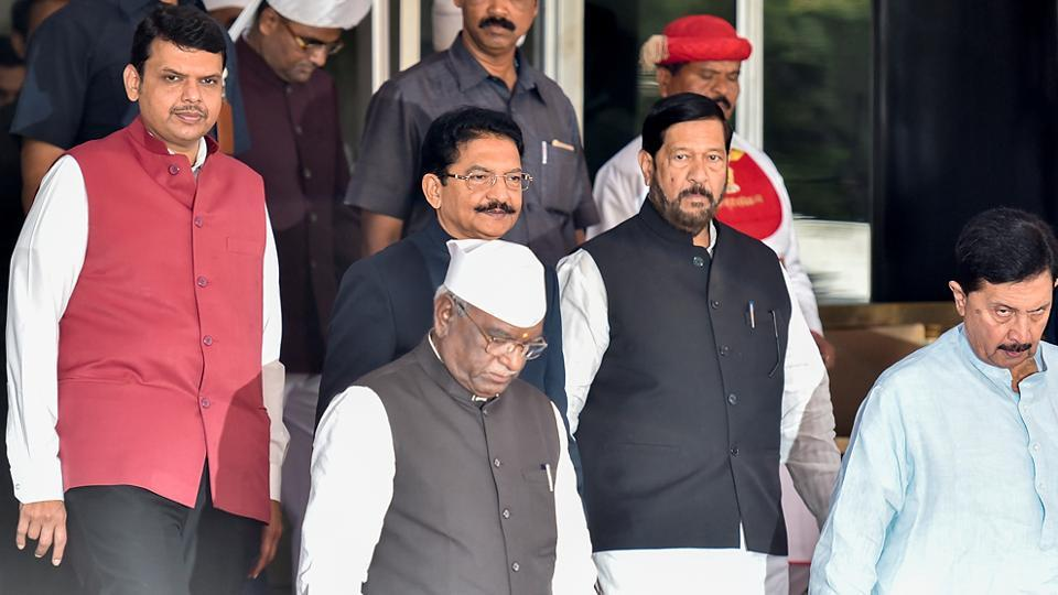 CM Fadnavis with Governor of Maharashtra, Ch Vidyasagar Rao (second from left) on the first day of the Assembly session. (Kunal Patil/HT Photo)